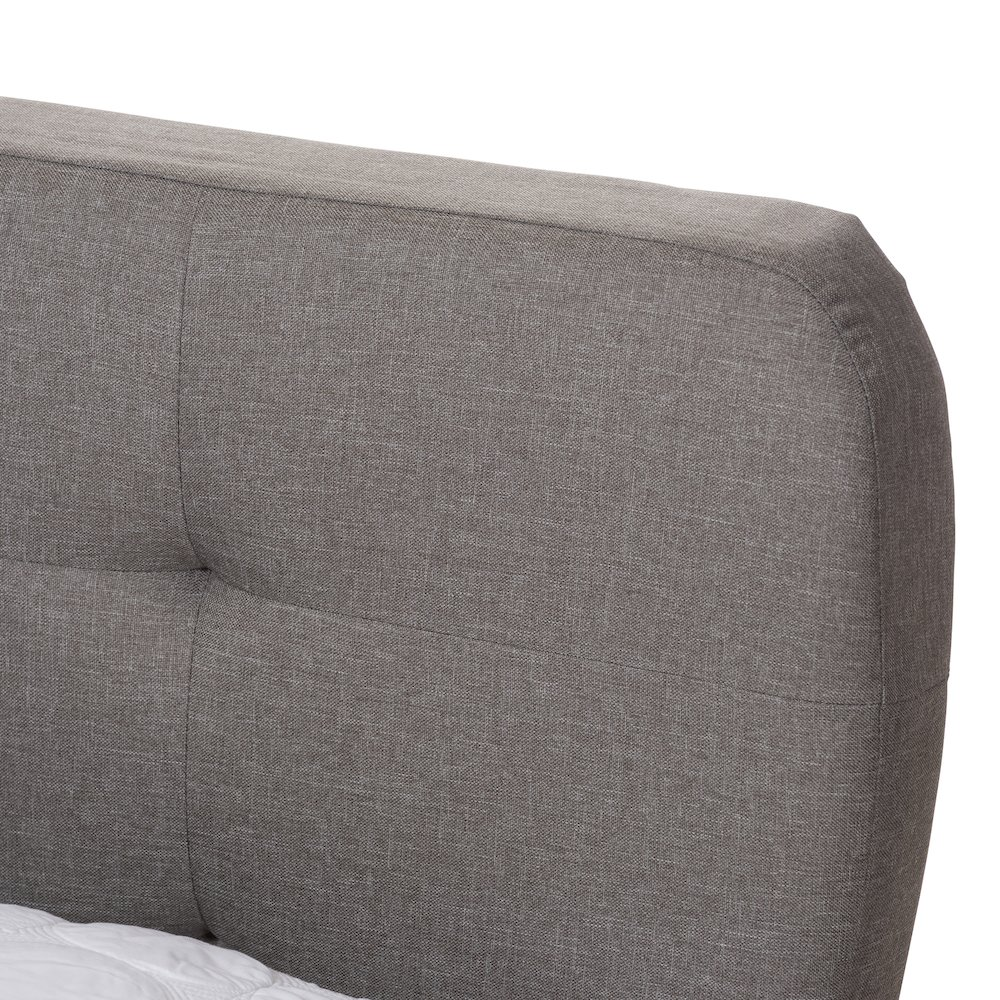 Laureo Mid-Century Light Grey Fabric Upholstered Full Size Platform Bed. Picture 4