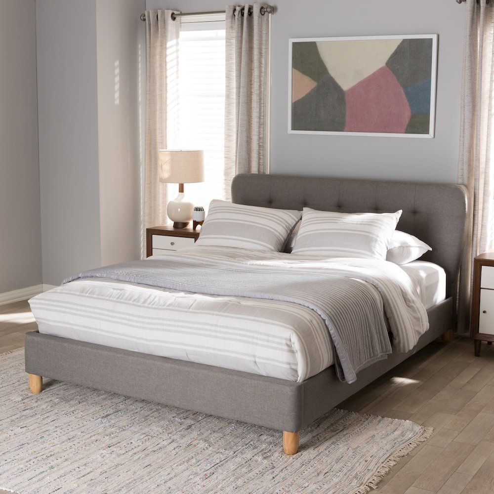 Laureo Mid-Century Light Grey Fabric Upholstered Full Size Platform Bed. Picture 6