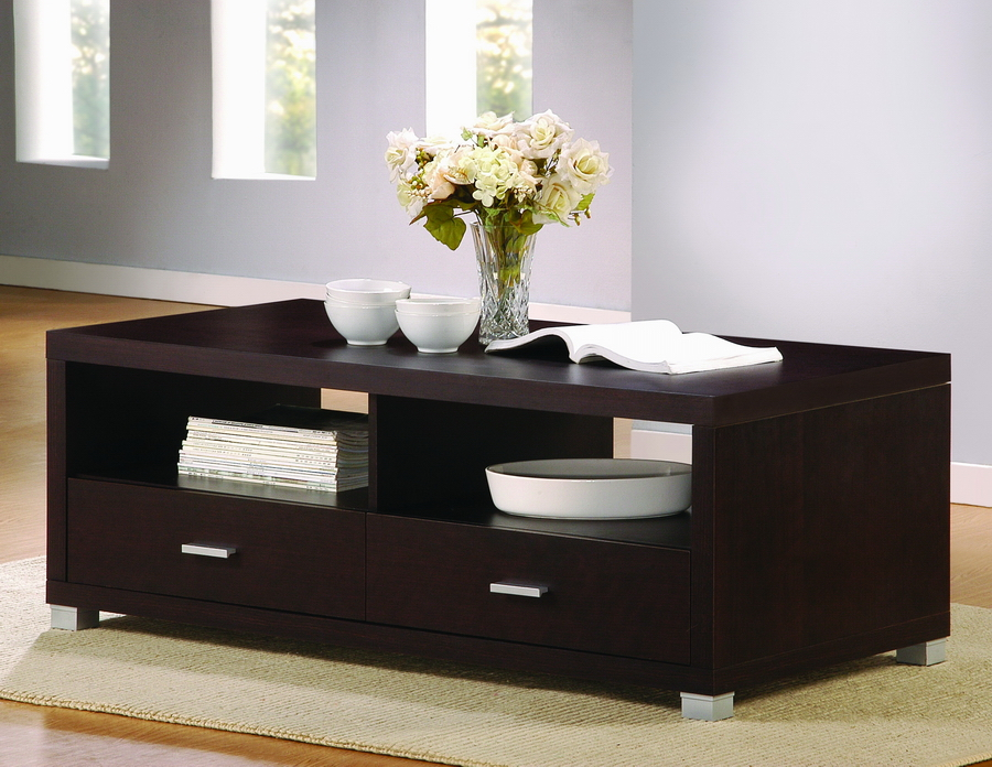 Derwent Coffee Table With Drawers Dark Brown Thumbnail