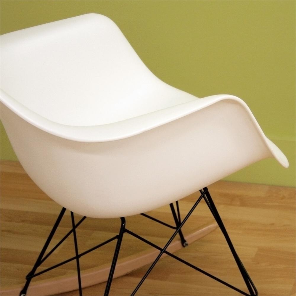 Swell Dario White Plastic Mid Century Modern Rocking Chair By Baxton Studio Forskolin Free Trial Chair Design Images Forskolin Free Trialorg