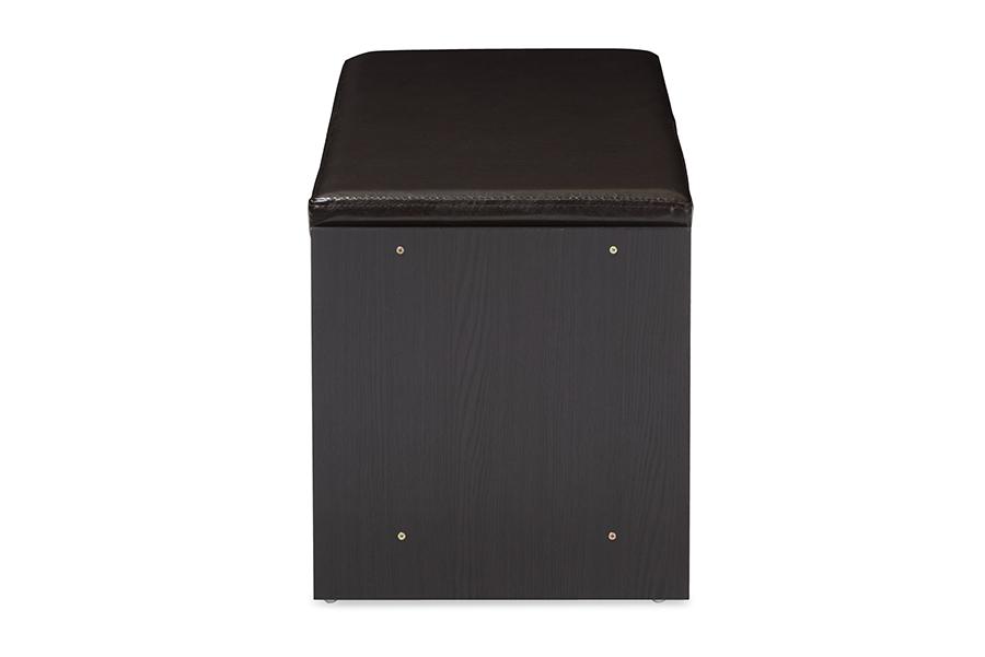 3-door Dark Brown Wood Entryway Storage Cushioned Bench Shoe Rack Cabinet NEW