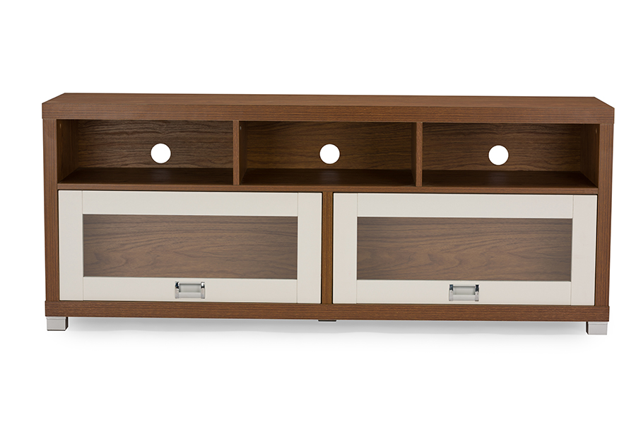 Swindon Modern Two Tone Walnut And White Tv Stand With Glass Doors