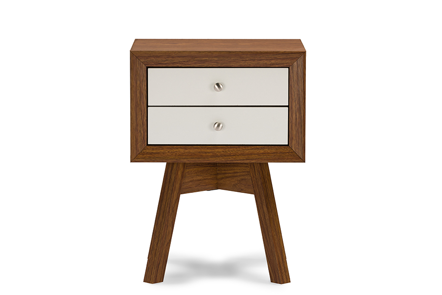 Warwick Two Tone Walnut And White Modern Accent Table And Nightstand Walnut/ White