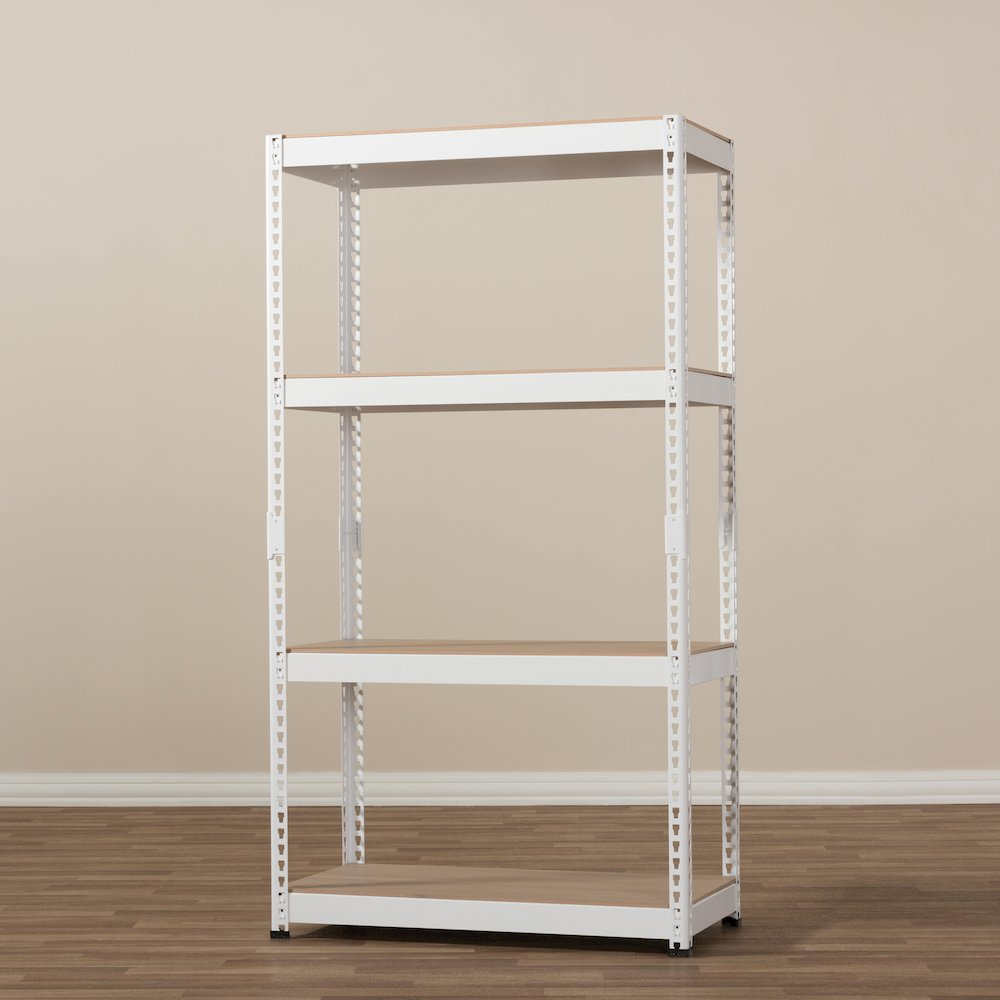 Cody White Metal 4 Shelf Multipurpose Shelving Rack