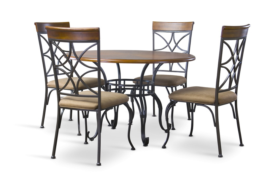 Ibiza Wood And Metal 6 Piece Contemporary Dining Set With