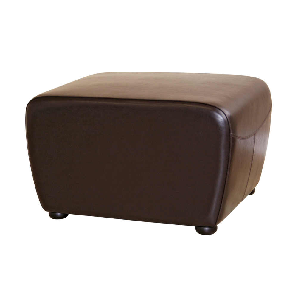 Miraculous Dark Brown Full Leather Ottoman With Rounded Sides Dailytribune Chair Design For Home Dailytribuneorg