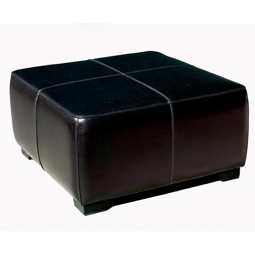 Black full leather square ottoman footstool for Black leather footstool