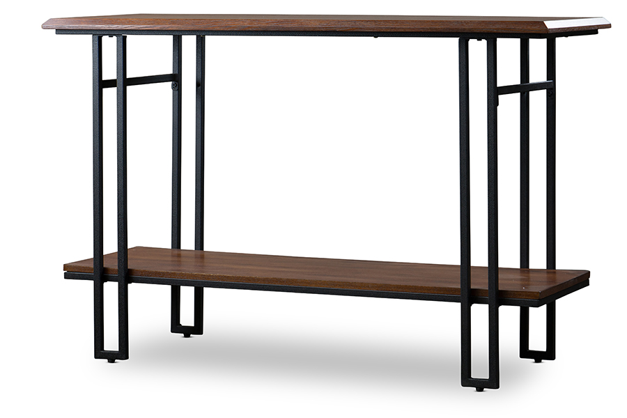 Wood Metal Console Table Brown Bronze