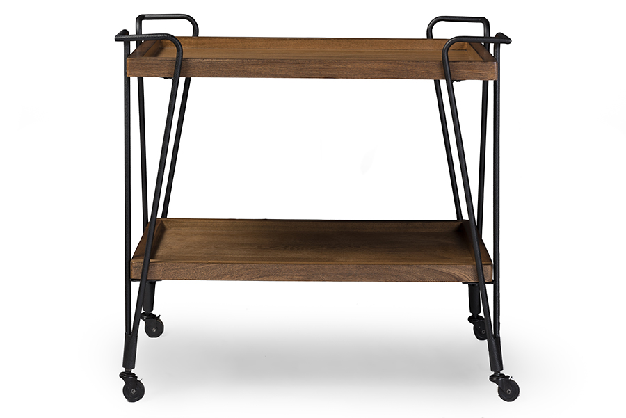 Laydon Black Textured Metal Ash Wood Mobile Serving Bar Cart BlackBrown. Picture 2