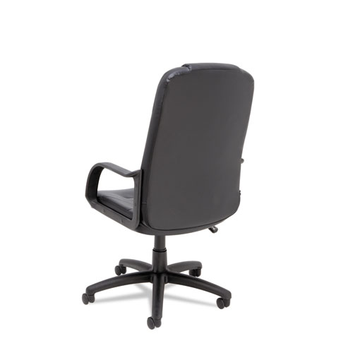 Sparis Executive High-Back Swivel/Tilt Bonded Leather Chair, Supports up to 275 lbs, Black Seat/Black Back, Black Base. Picture 3