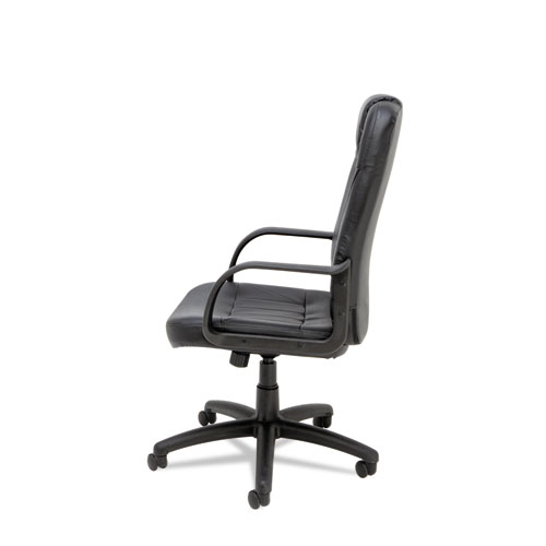 Sparis Executive High-Back Swivel/Tilt Bonded Leather Chair, Supports up to 275 lbs, Black Seat/Black Back, Black Base. Picture 4