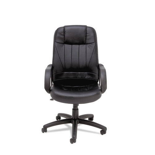 Sparis Executive High-Back Swivel/Tilt Bonded Leather Chair, Supports up to 275 lbs, Black Seat/Black Back, Black Base. Picture 6