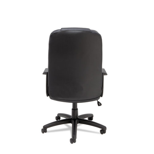 Sparis Executive High-Back Swivel/Tilt Bonded Leather Chair, Supports up to 275 lbs, Black Seat/Black Back, Black Base. Picture 7