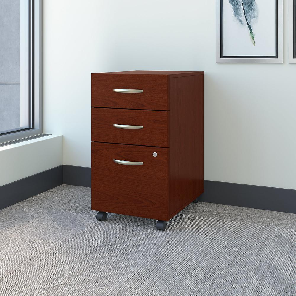 Bush Business Furniture Series C 3 Drawer Mobile File Cabinet - Assembled, Mahogany. Picture 2