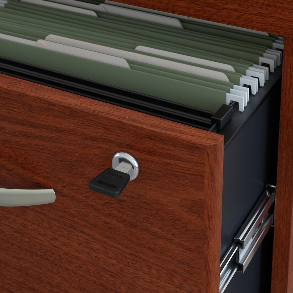 Bush Business Furniture Series C 3 Drawer Mobile File Cabinet - Assembled, Mahogany. Picture 3