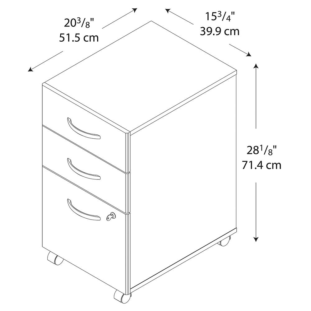 Bush Business Furniture Series C 3 Drawer Mobile File Cabinet - Assembled, Mahogany. Picture 5