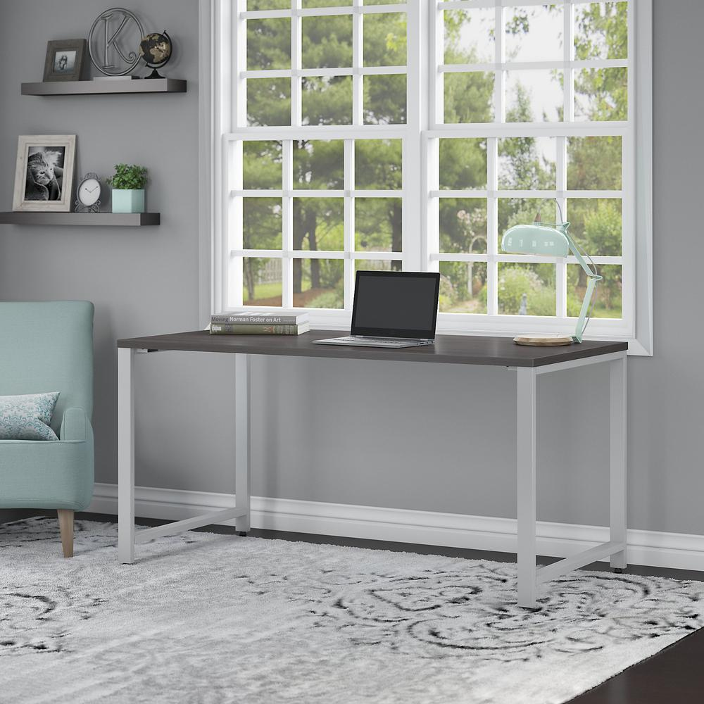 Bush Business Furniture 400 Series 60W x 30D Table Desk with Metal Legs, Storm Gray. Picture 2