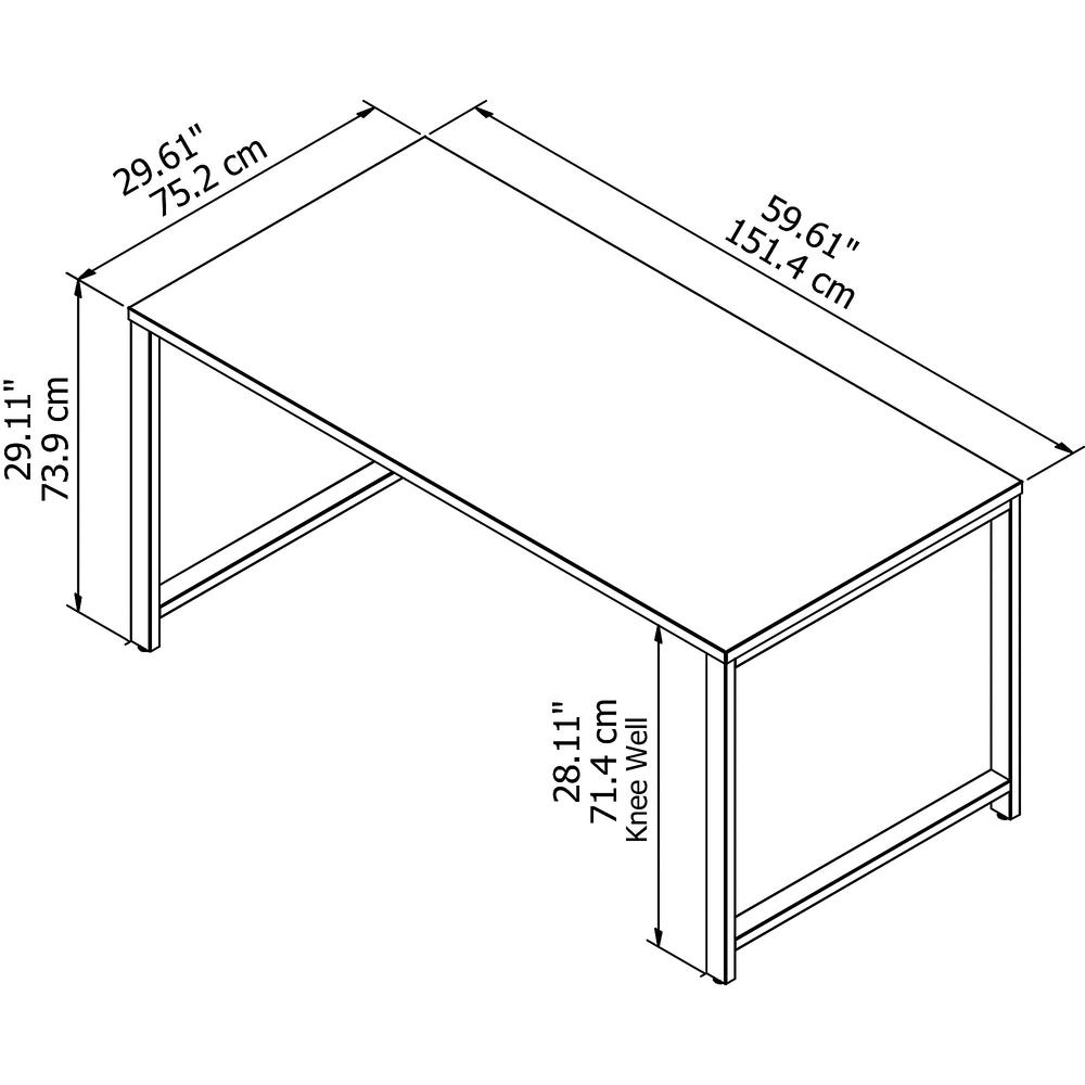 Bush Business Furniture 400 Series 60W x 30D Table Desk with Metal Legs, Storm Gray. Picture 5