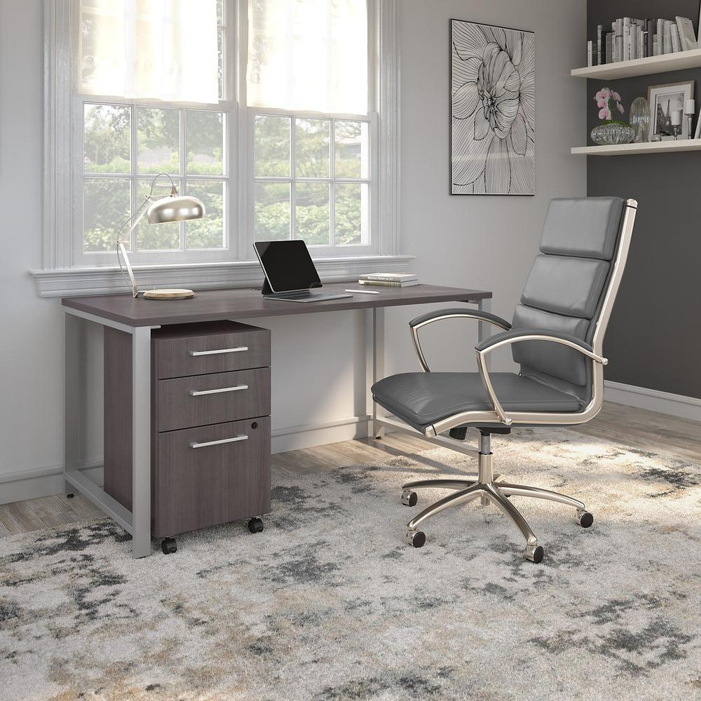 Bush Business Furniture 400 Series 60W x 30D Table Desk with Metal Legs, Storm Gray. Picture 7