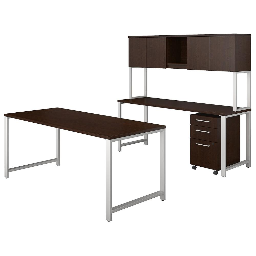 400 series 72w x 30d table desk with credenza hutch and 3 drawer mobile file cabinet - Mobile credenza ...