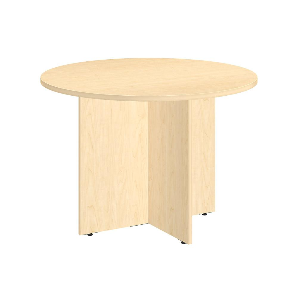 W Round Conference Table With Wood Base - Round wood conference table