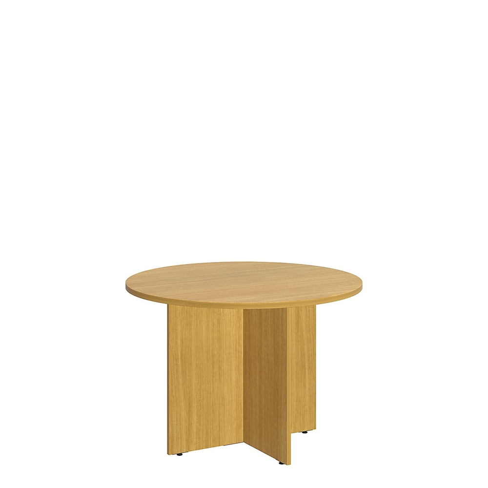 Round Conference Table With Wood Base In Modern Cherry - Modern round conference table
