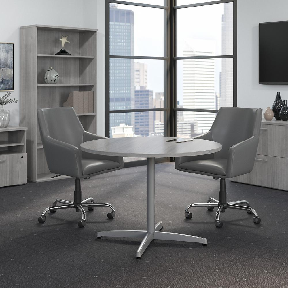 Bush Business Furniture 42W Round Conference Table with Metal X Base, Platinum Gray. Picture 2