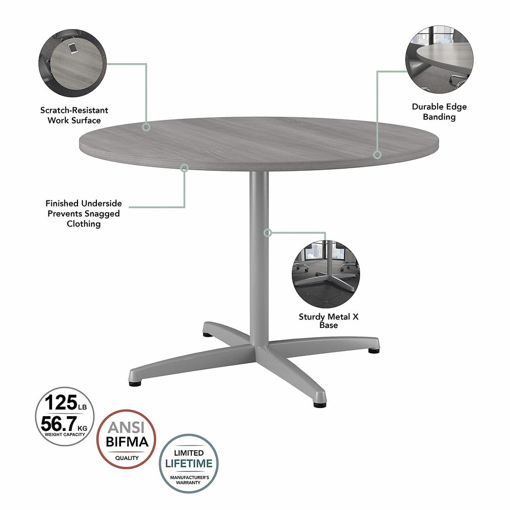 Bush Business Furniture 42W Round Conference Table with Metal X Base, Platinum Gray. Picture 3