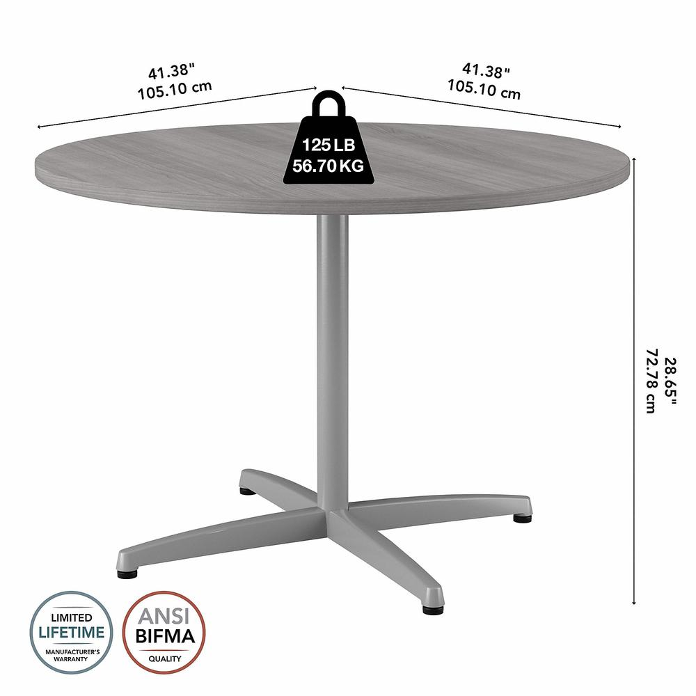 Bush Business Furniture 42W Round Conference Table with Metal X Base, Platinum Gray. Picture 6