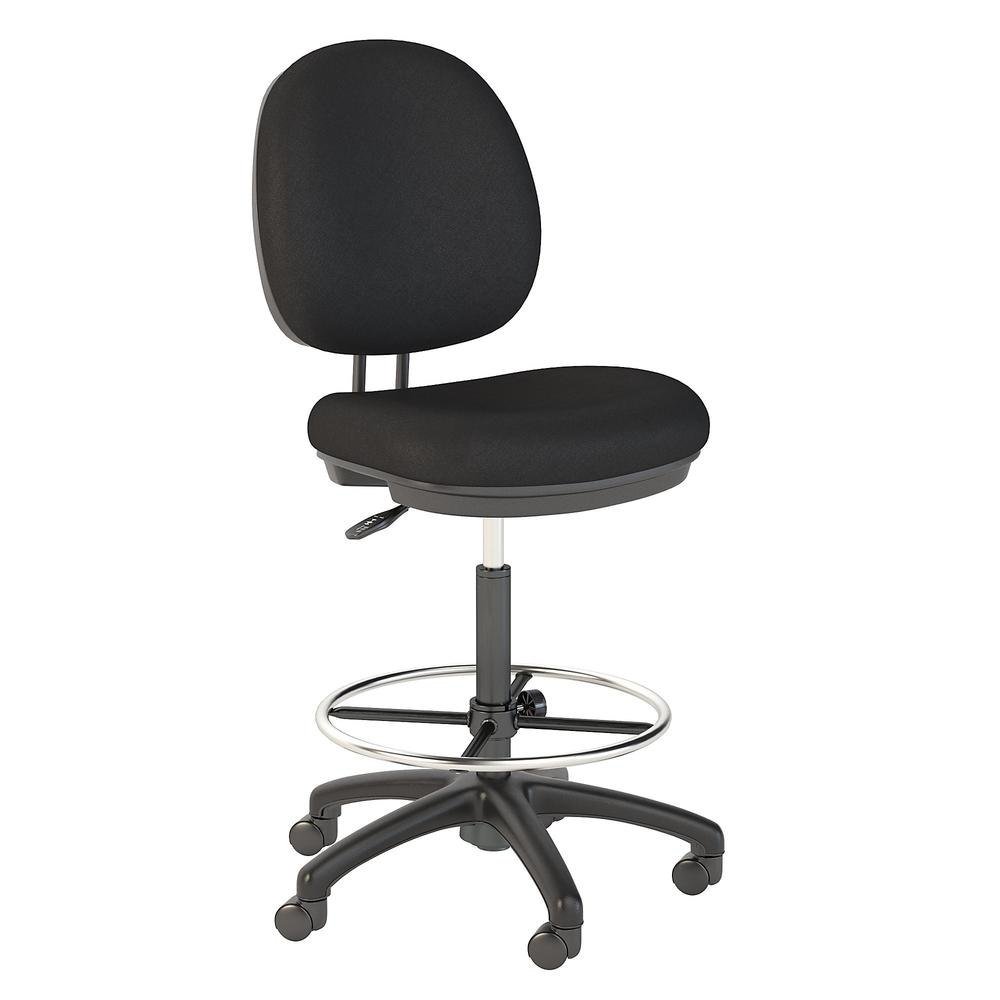 Bush Business Furniture Accord Drafting Stool with Chrome Foot Ring, Black Fabric. Picture 1