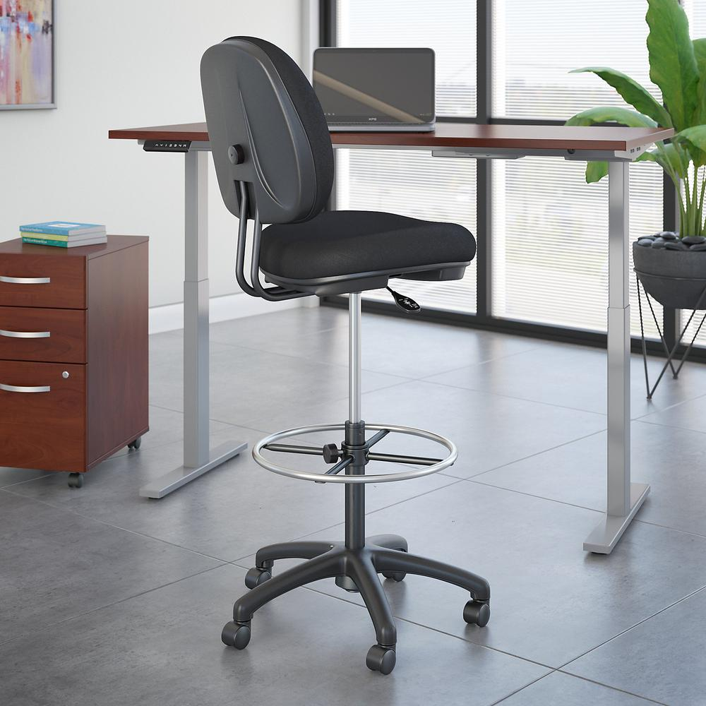 Bush Business Furniture Accord Drafting Stool with Chrome Foot Ring, Black Fabric. Picture 2