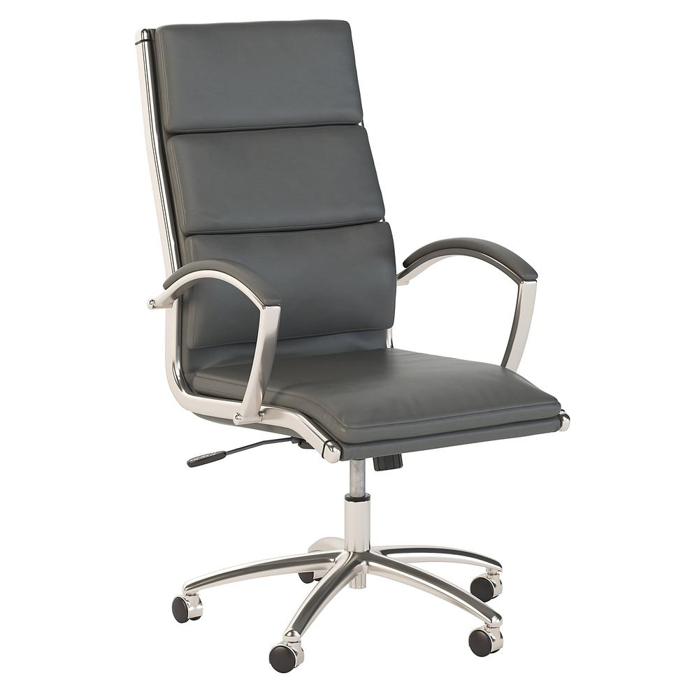Bush Business Furniture Modelo High Back Leather Executive Office Chair, Dark Gray Leather. Picture 1
