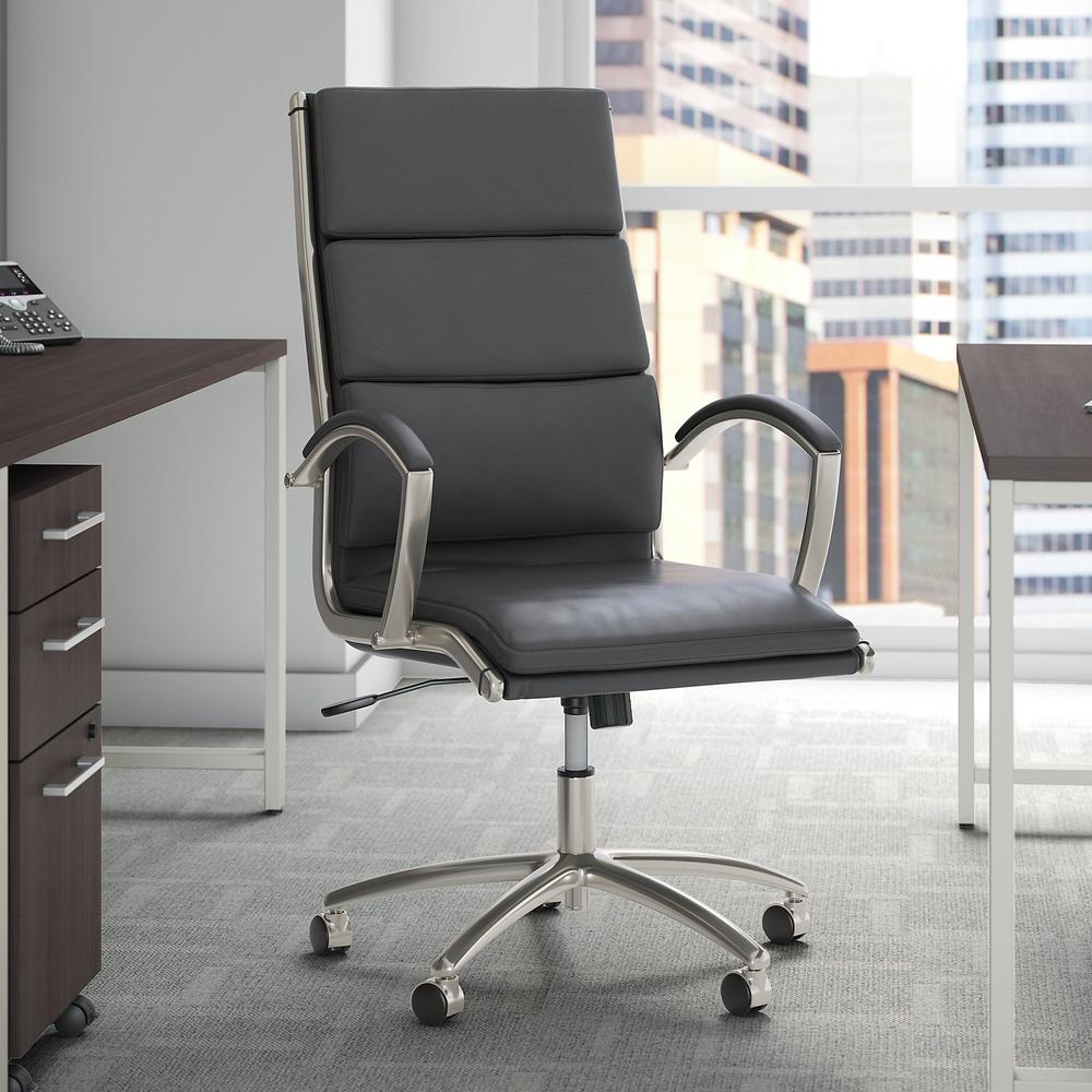 Bush Business Furniture Modelo High Back Leather Executive Office Chair, Dark Gray Leather. Picture 2