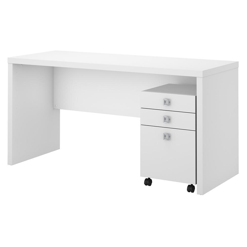 60w credenza desk with 3 drawer mobile pedestal - Mobile credenza ...