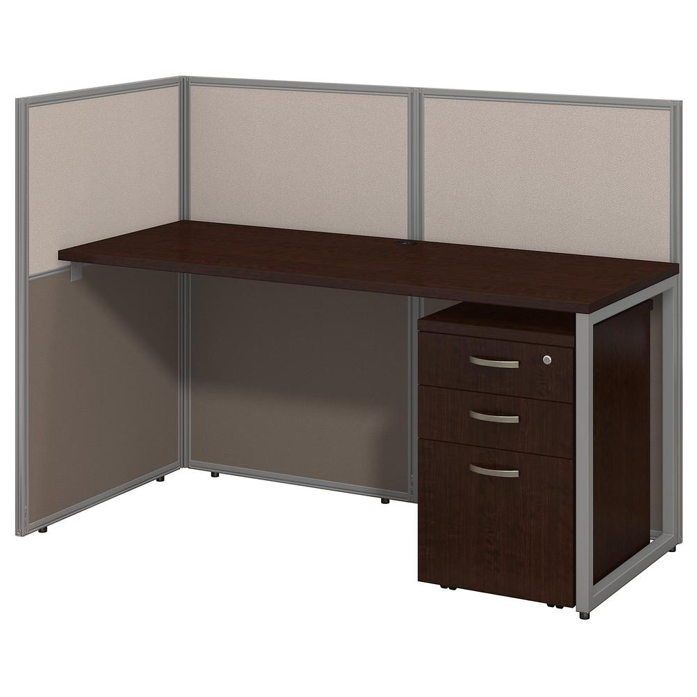 Bush Business Furniture Easy Office 60W Cubicle Desk with File Cabinet and 45H Open Panels Workstation, Mocha Cherry. Picture 1