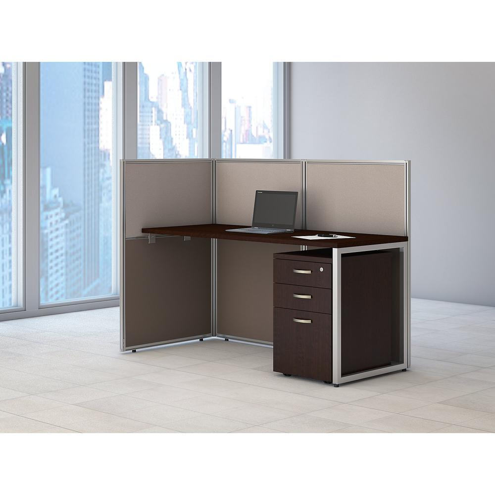 Bush Business Furniture Easy Office 60W Cubicle Desk with File Cabinet and 45H Open Panels Workstation, Mocha Cherry. Picture 2