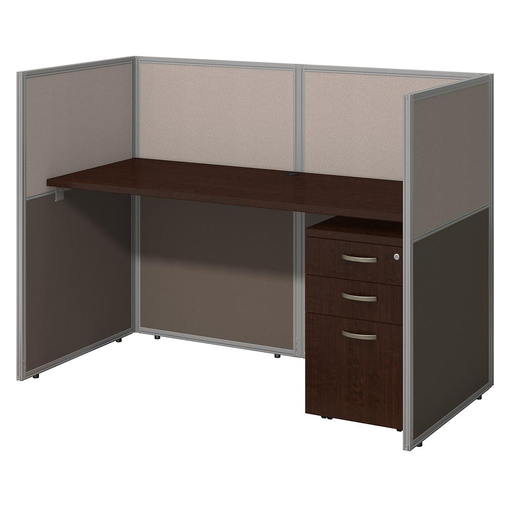 Bush Business Furniture Easy Office 60W Cubicle Desk with File Cabinet and 45H Closed Panels Workstation, Mocha Cherry. Picture 1