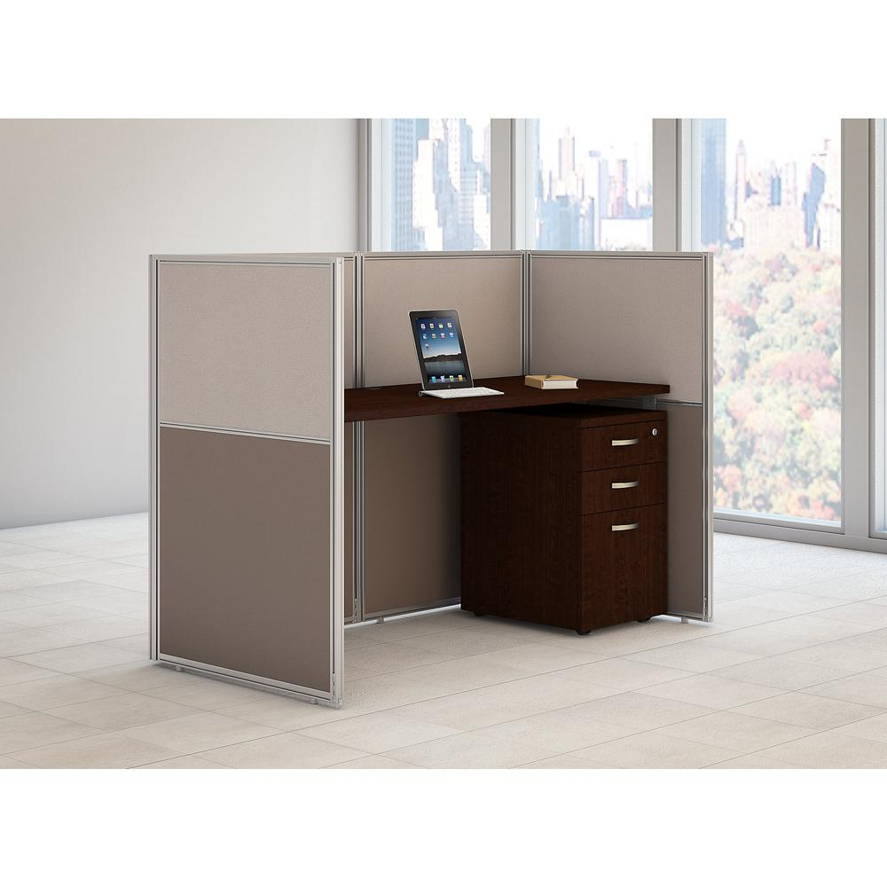 Bush Business Furniture Easy Office 60W Cubicle Desk with File Cabinet and 45H Closed Panels Workstation, Mocha Cherry. Picture 2