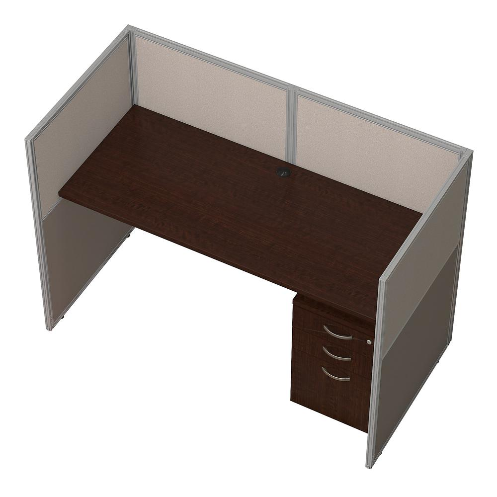 Bush Business Furniture Easy Office 60W Cubicle Desk with File Cabinet and 45H Closed Panels Workstation, Mocha Cherry. Picture 3