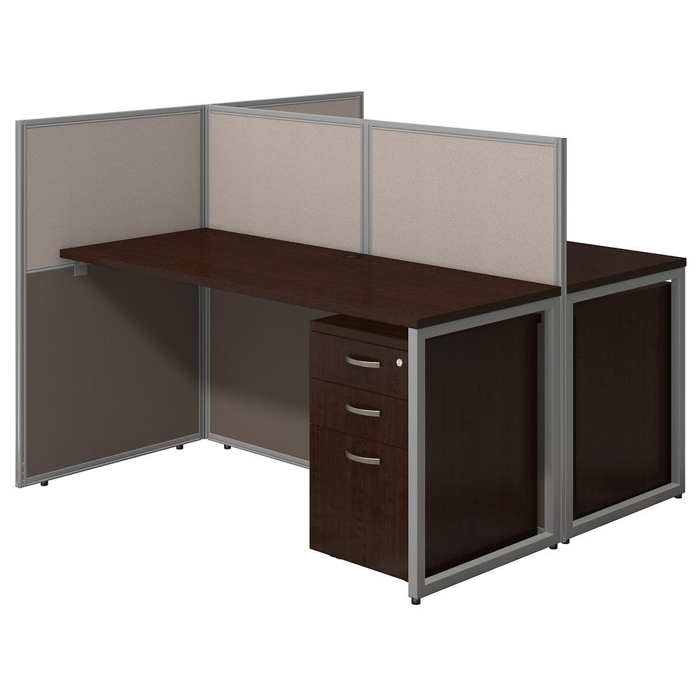 Bush Business Furniture Easy Office 60W 2 Person Cubicle Desk with File Cabinets and 45H Panels, Mocha Cherry. Picture 1