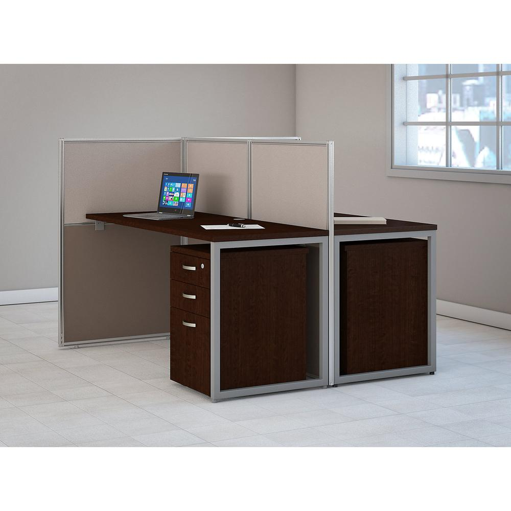 Bush Business Furniture Easy Office 60W 2 Person Cubicle Desk with File Cabinets and 45H Panels, Mocha Cherry. Picture 2