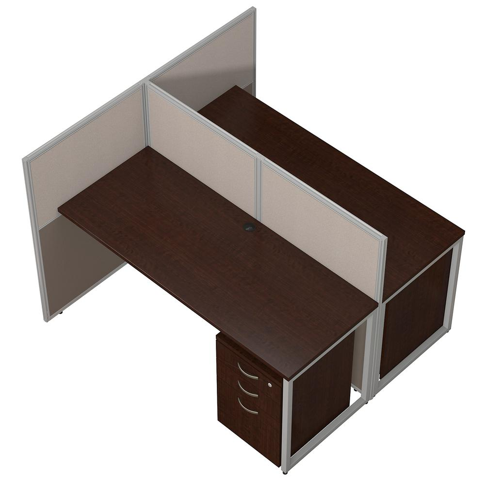 Bush Business Furniture Easy Office 60W 2 Person Cubicle Desk with File Cabinets and 45H Panels, Mocha Cherry. Picture 3