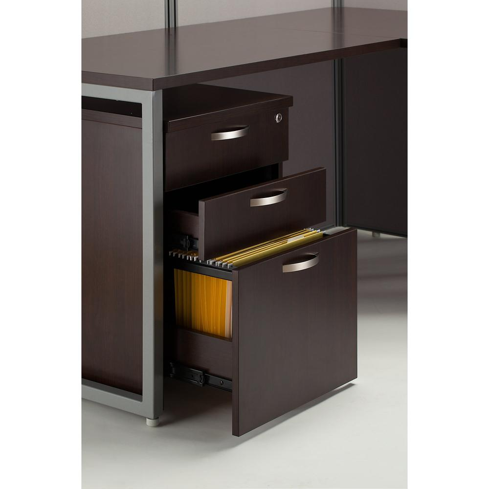 Bush Business Furniture Easy Office 60W 2 Person Cubicle Desk with File Cabinets and 45H Panels, Mocha Cherry. Picture 8
