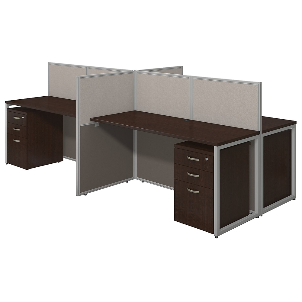 Easy Office 60w 4 Person Straight Desk Open Office With 3 Drawer Mobile Pedestals In Mocha Cherry