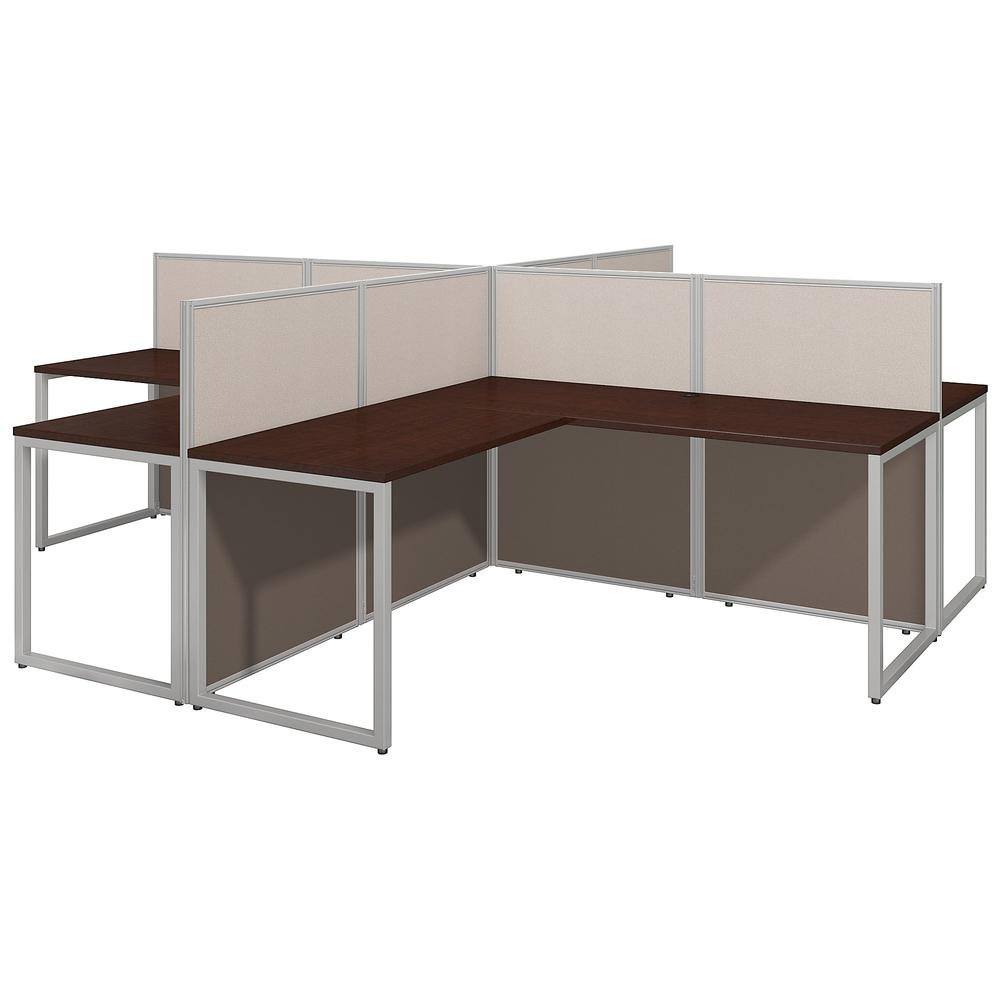 Bush Business Furniture Easy Office 60W 4 Person L Shaped Cubicle Desk Workstation with 45H Panels, Mocha Cherry. Picture 1