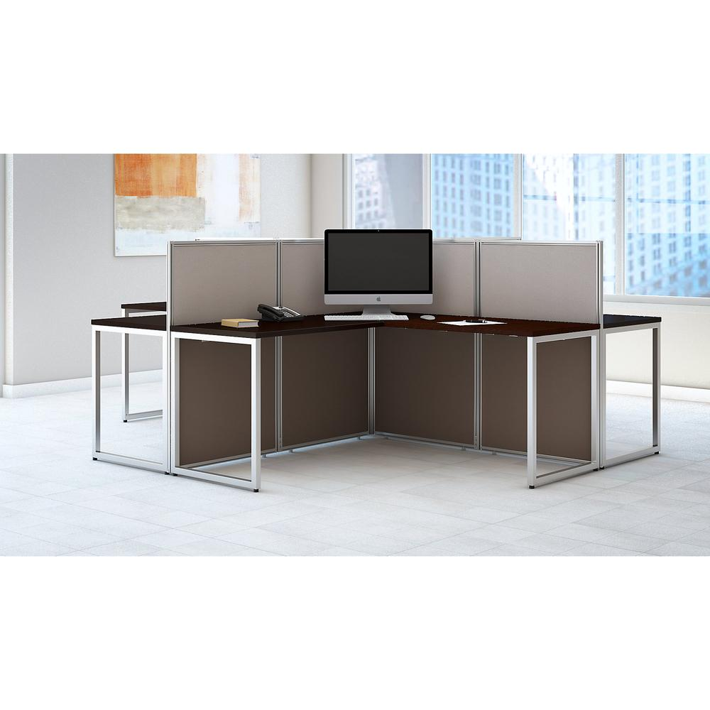 Bush Business Furniture Easy Office 60W 4 Person L Shaped Cubicle Desk Workstation with 45H Panels, Mocha Cherry. Picture 2