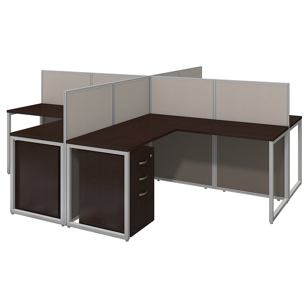 office l desk. Easy Office 60W 4 Person L Desk Open With 3 Drawer Mobile Pedestals In Mocha Cherry T