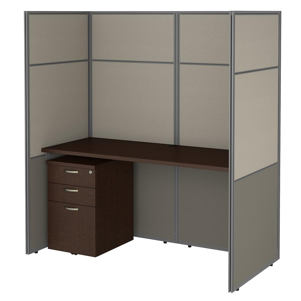 Bush Business Furniture Easy Office 60W Cubicle Desk with File Cabinet and 66H Closed Panels Workstation, Mocha Cherry. Picture 1