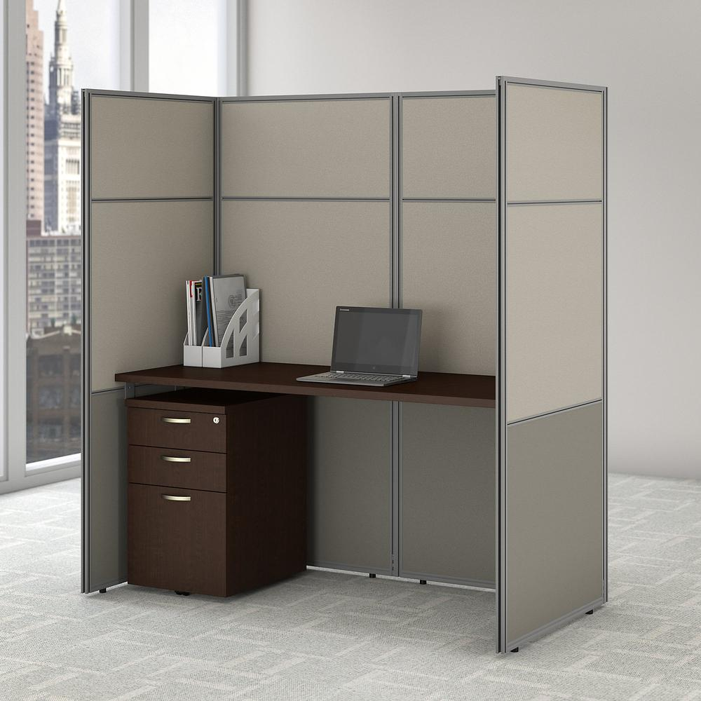 Bush Business Furniture Easy Office 60W Cubicle Desk with File Cabinet and 66H Closed Panels Workstation, Mocha Cherry. Picture 2