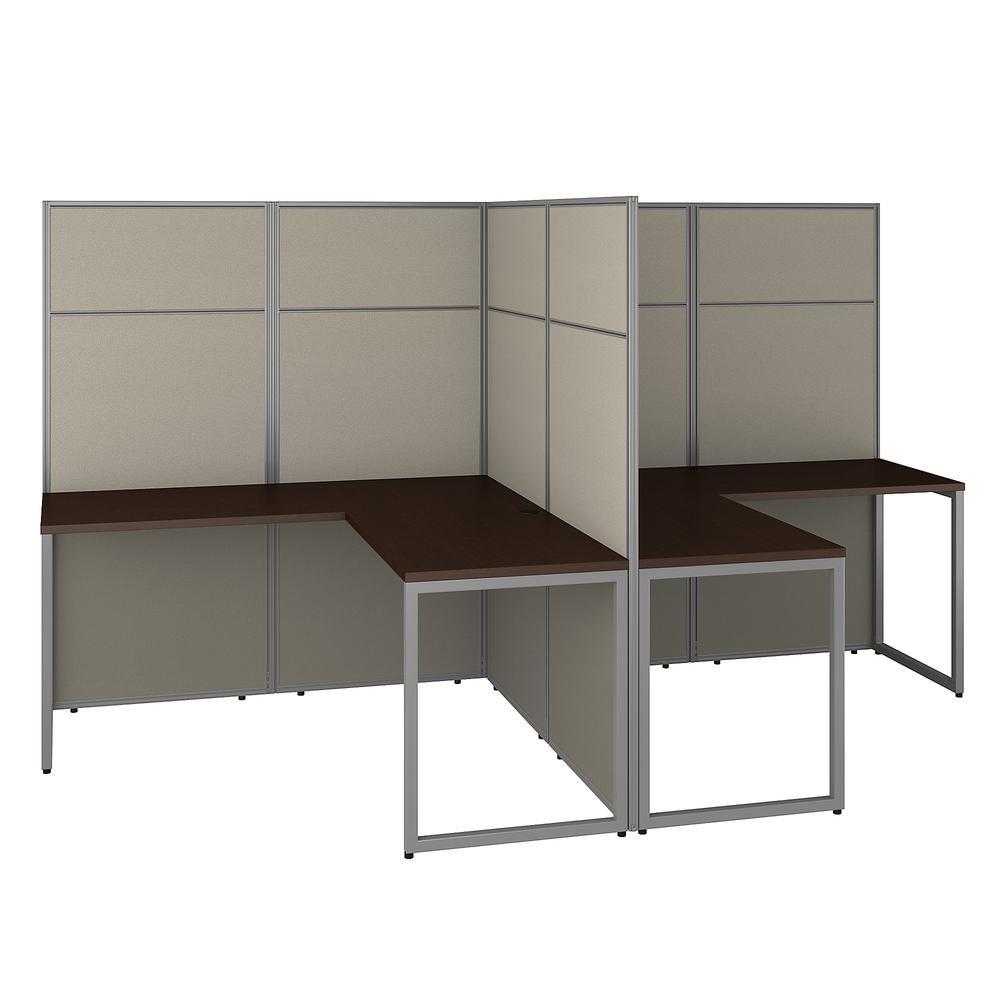 Bush Business Furniture Easy Office 60W 2 Person L Shaped Cubicle Desk Workstation with 66H Panels, Mocha Cherry. Picture 1